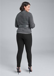 Cropped Back View Ribbed Tie Front Sweater