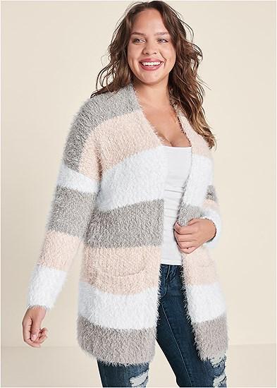 Plus Size Cozy Striped Cardigan