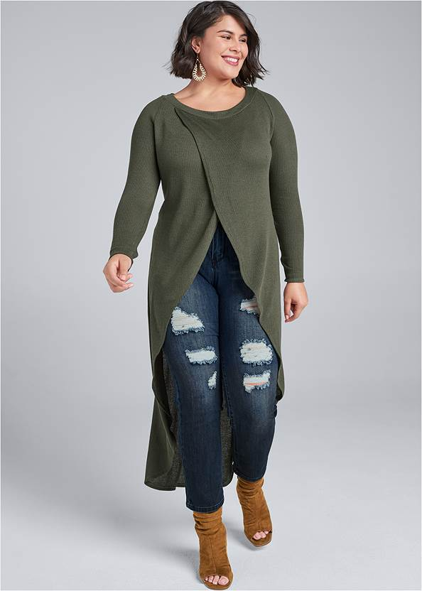 Casual High Low Top,Ripped Skinny Jeans,Mid Rise Color Skinny Jeans,Basic Leggings,Lace Up Tall Boots,Buckle Knee High Boots,Beaded Drop Earrings,Circle Basket Wooden Bag