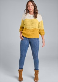 Full Front View Color Block Sweater