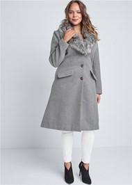 Full Front View Faux Fur Trim Coat