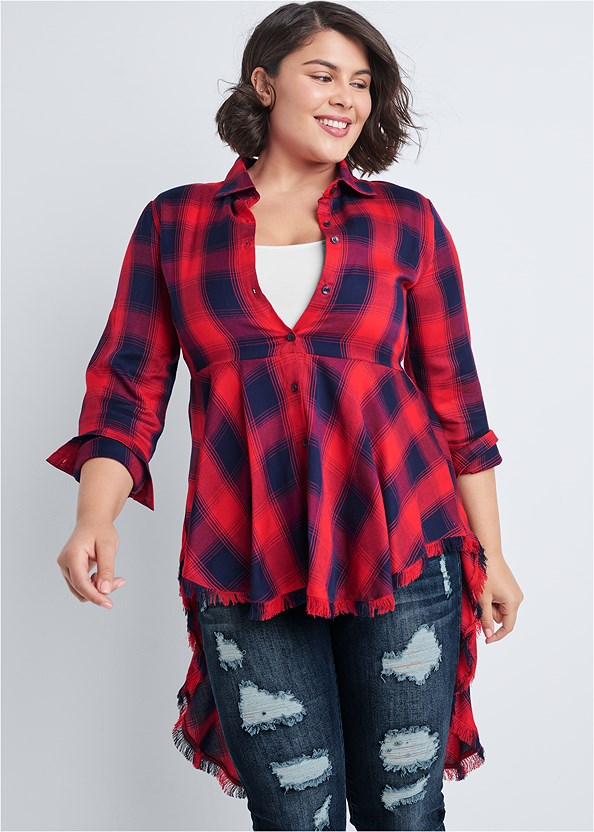Plaid High Low Top,Ripped Bum Lifter Jeans,Open Heel Booties,Coin Drop Earrings
