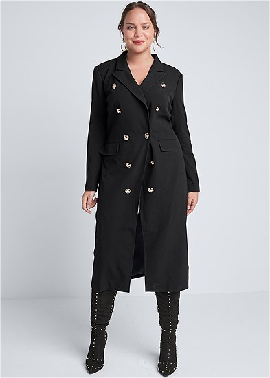 Plus Size Long Double Breasted Jacket
