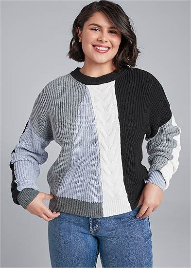 Plus Size Color Blocked Sweater