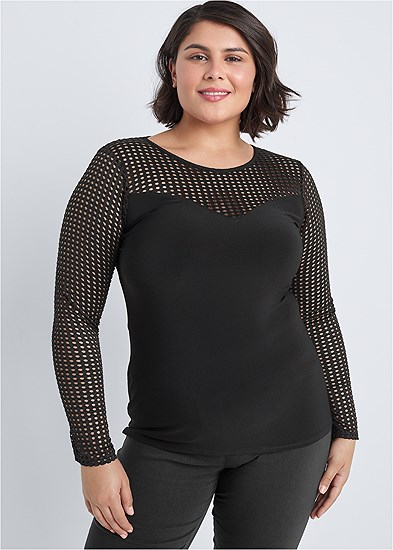 Plus Size Mesh Detail Top