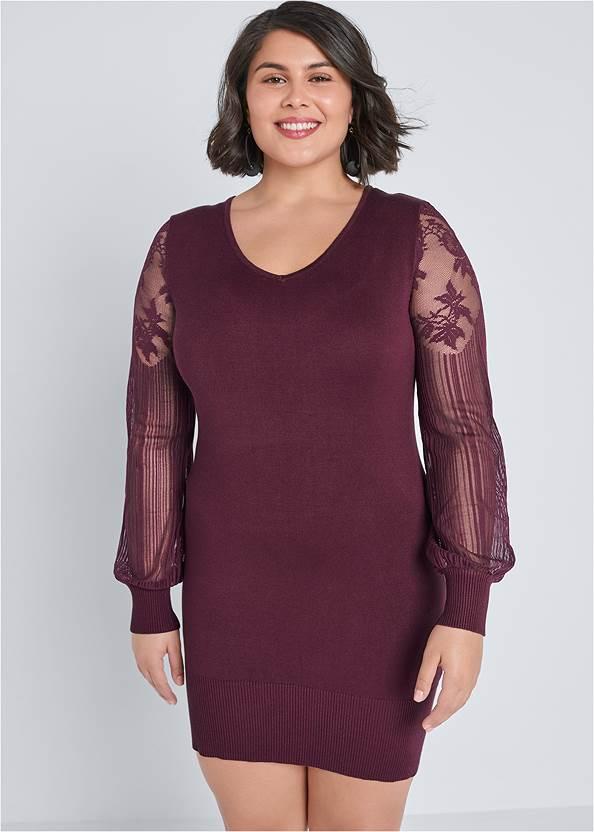 Sleeve Detail Sweater Dress,Lace Detail Booties,Bauble Hoop Earrings,Beaded Tassel Earrings,Ring Detail Oversized Bag