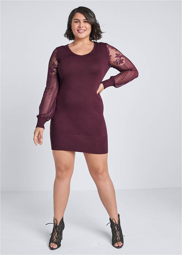 Full Front View Sleeve Detail Sweater Dress