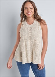 Front View Sleeveless Lace Top