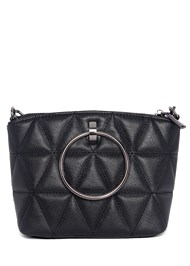 Flatshot back view Quilted Handbag With Charm