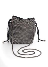 Flatshot front view Soft Embellished Bucket Bag