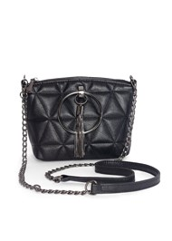 Flatshot front view Quilted Handbag With Charm