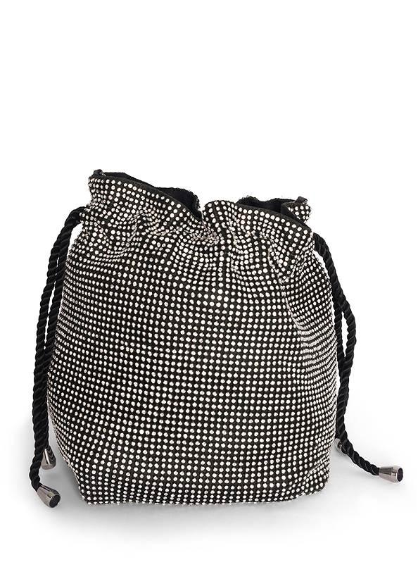 Flatshot back view Soft Embellished Bucket Bag