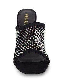 Front View Embellished Net Heel