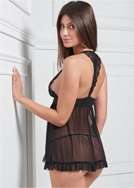 Cropped back view Flyaway Babydoll With Lace