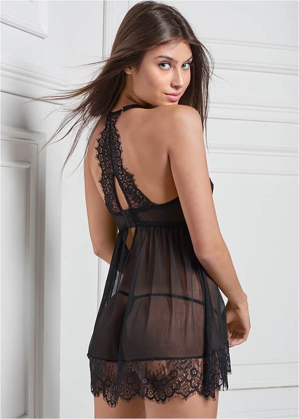 Cropped back view Lace And Mesh Babydoll