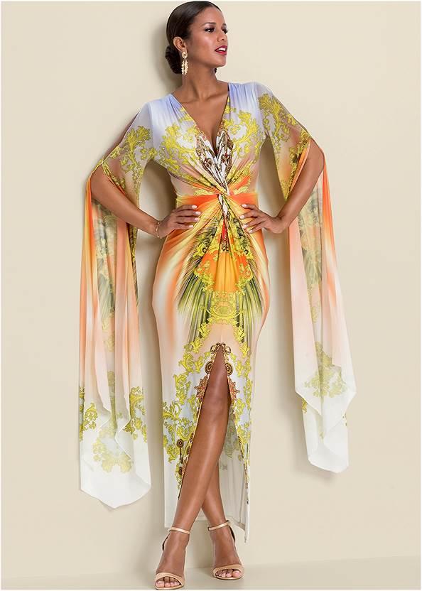 Exaggerated Sleeve Dress,Multi Strap Ankle Wrap Heels,Tassel Hoop Earrings,Pleated Tote Bag,Animal Chain Crossbody Bag