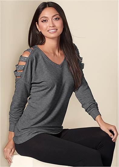 Stud Embellished Sweatshirt