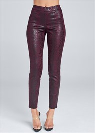Waist down front view Python Faux Leather Pants