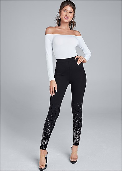 Rhinestone Detail Leggings