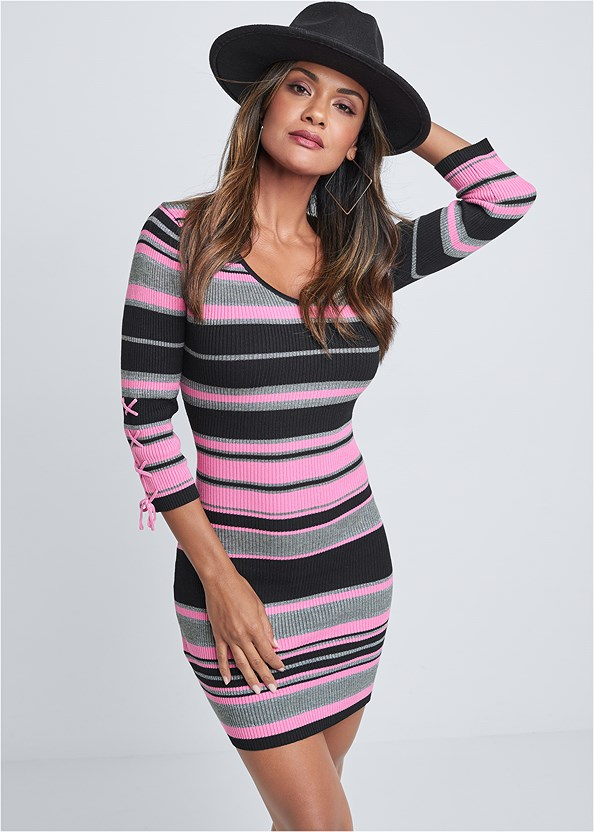 Striped Sweater Dress,Seamless Unlined Bra,Peep Toe Booties,Wide Brim Buckle Hat,Square Hoop Earrings