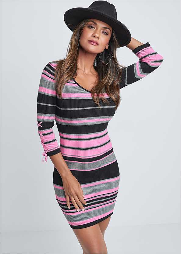 Striped Sweater Dress,Seamless Unlined Bra,Peep Toe Booties,Slouchy Mid-Calf Boot