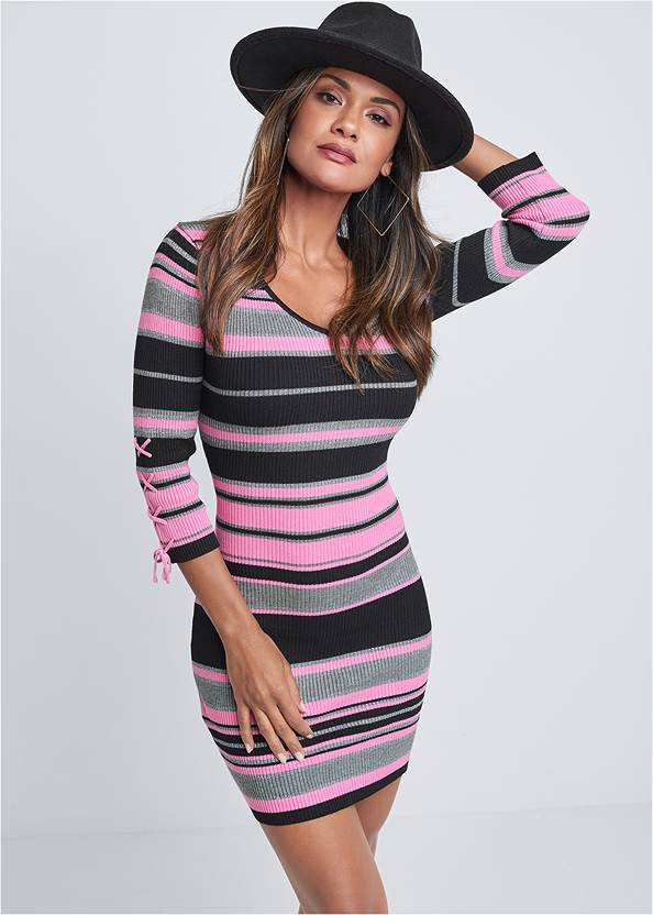 Striped Sweater Dress,Pearl™ By Venus Lace Bralette,Peep Toe Booties,Slouchy Mid-Calf Boots,Color Block Hat,Square Hoop Earrings,Studded Faux Leather Tote