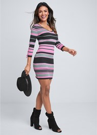 Full Front View Striped Sweater Dress