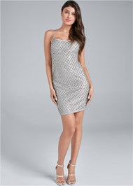 Full Front View Embellished Bodycon Dress
