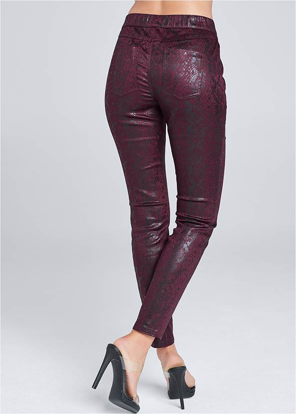 Back View Python Faux Leather Pants