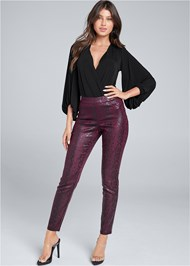 Full Front View Python Faux Leather Pants