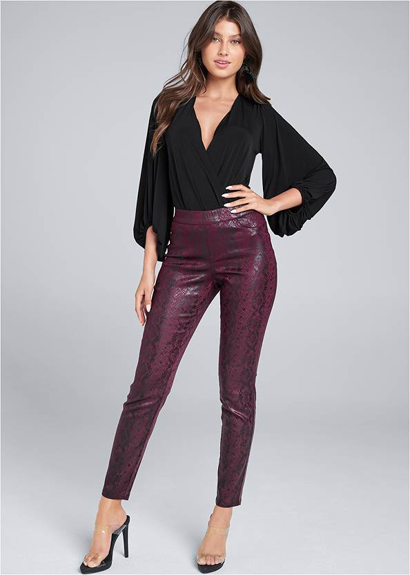 Python Faux Leather Pants,Square Neck Tank Top,Jean Jacket,Cupid U Plunge Bra,Lucite Strap Heels,Beaded Tassel Earrings