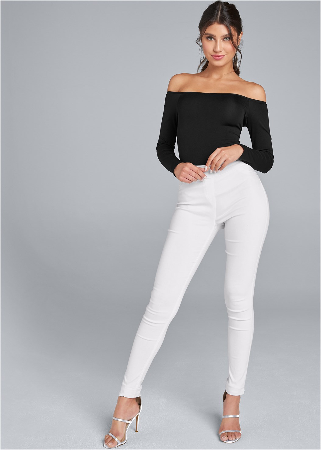 Mid Rise Slimming Stretch Jeggings,Off The Shoulder Top,Strappy Detail Top,High Heel Strappy Sandals,Wicker Straw Bag