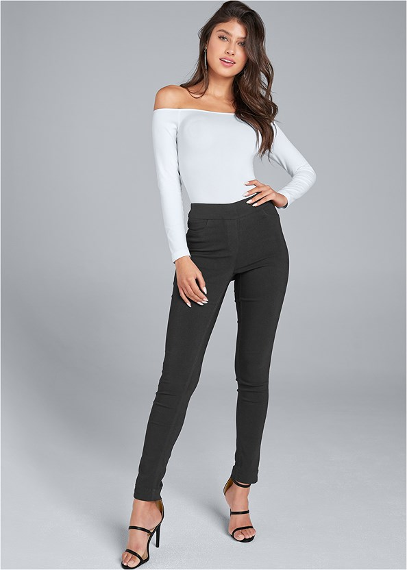 Mid Rise Slimming Stretch Jeggings,Off The Shoulder Top,Strappy Detail Top,High Heel Strappy Sandals