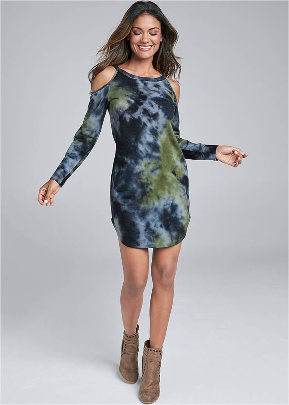 Full Front View Tie Dye Cold Shoulder Dress