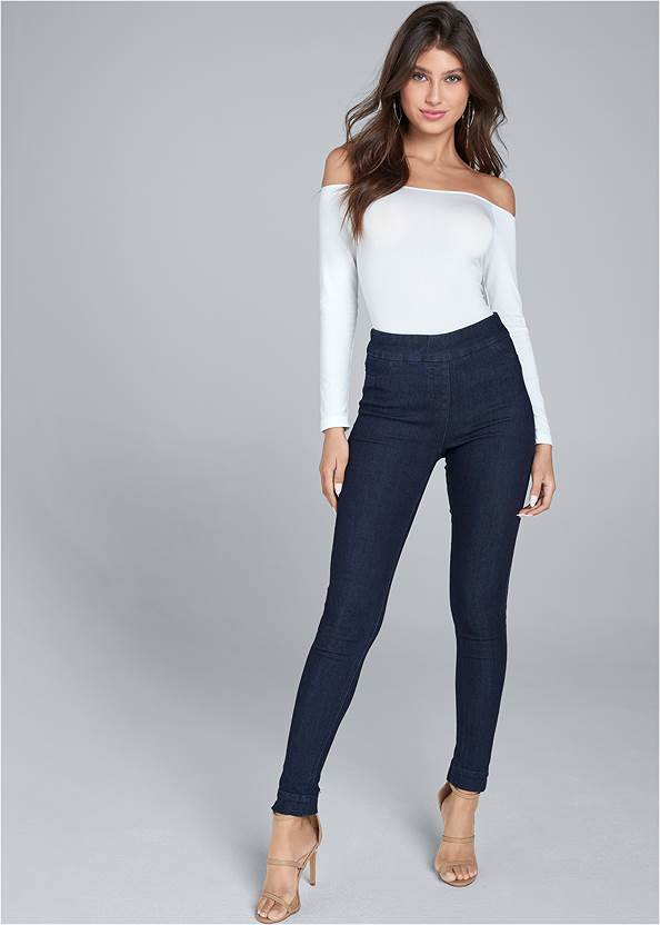Mid Rise Slimming Stretch Jeggings,Off The Shoulder Top,Ribbed Henley Top,High Heel Strappy Sandals,Ankle Strap Heels,Tiger Detail Earrings,Camo Tote Bag