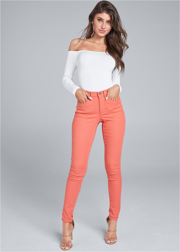 Mid Rise Color Skinny Jeans,Off The Shoulder Top,High Heel Strappy Sandals,Hoop Detail Earrings