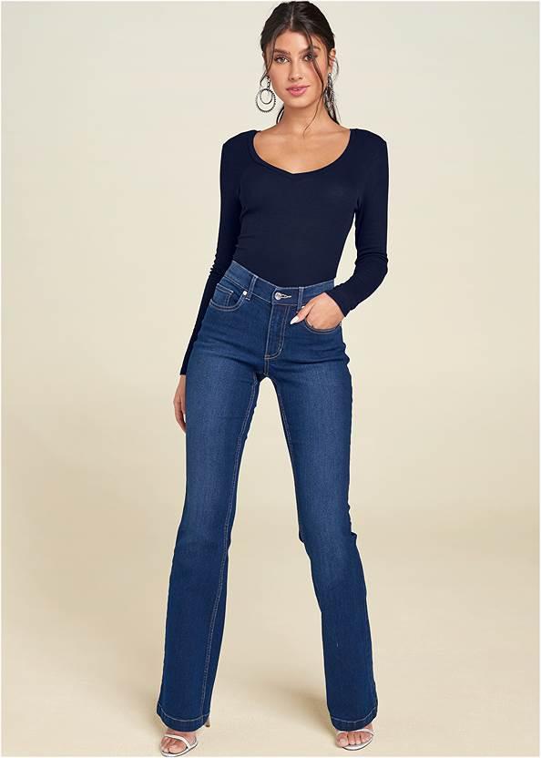 Casual Bootcut Jeans,Ribbed V-Neck Top,Ribbed Long Sleeve Top,Cold Shoulder Casual Top,High Heel Strappy Sandals,Fringe Drop Earrings,Fringe Handbag