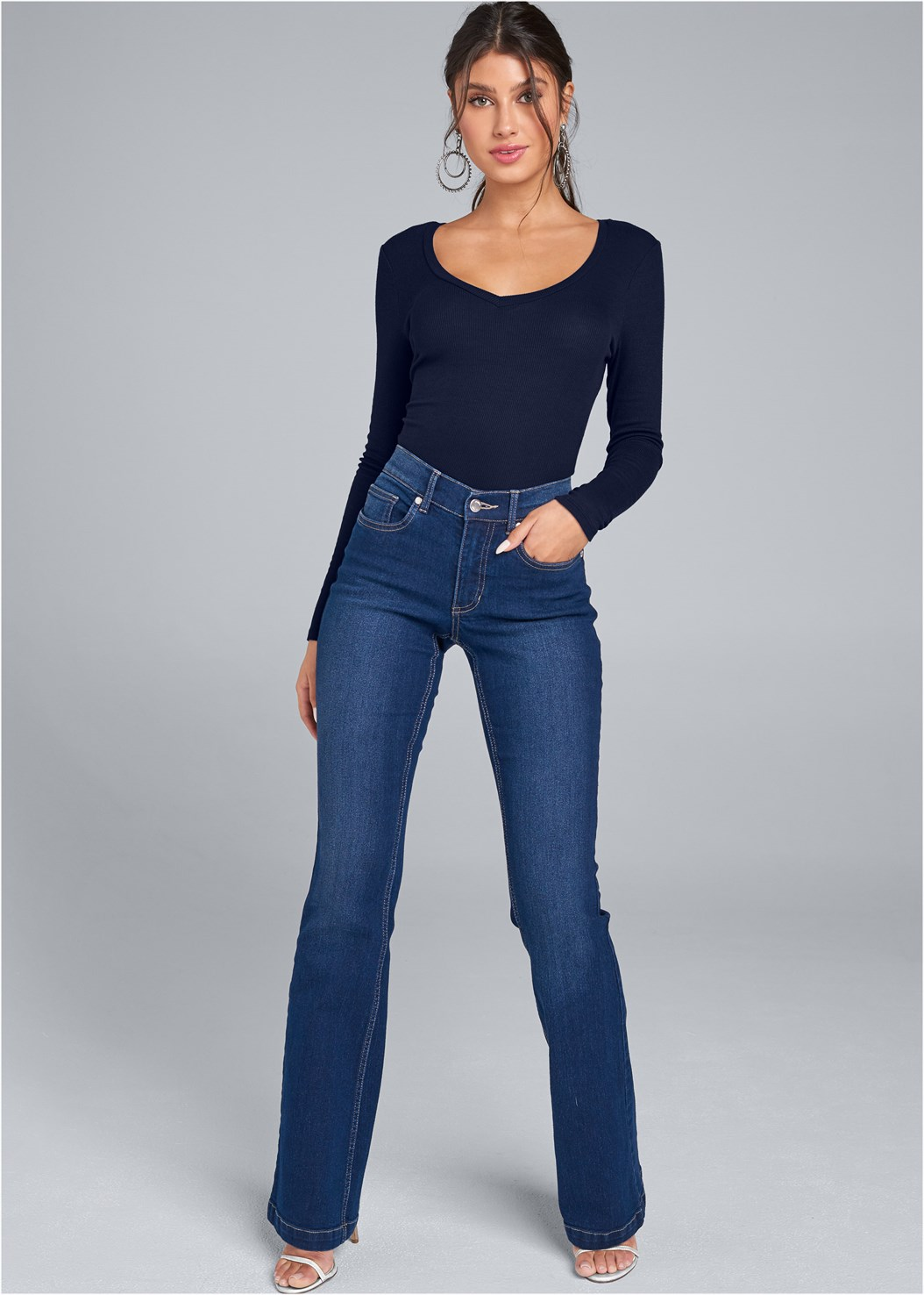 Casual Bootcut Jeans,Ribbed V-Neck Top,Ribbed Long Sleeve Top,Cold Shoulder Casual Top,Faux Suede Pointy Booties,High Heel Strappy Sandals,Peep Toe Booties,Double Buckle Belt,Studded Matte Hoops