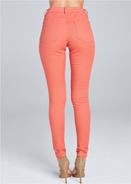 Waist down back view Mid Rise Color Skinny Jeans