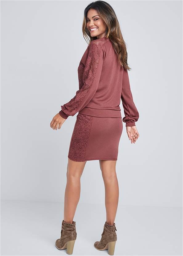 Back View Lace Lounge Skirt Set