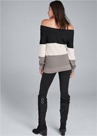 Back View Waffle Knit Sweatshirt