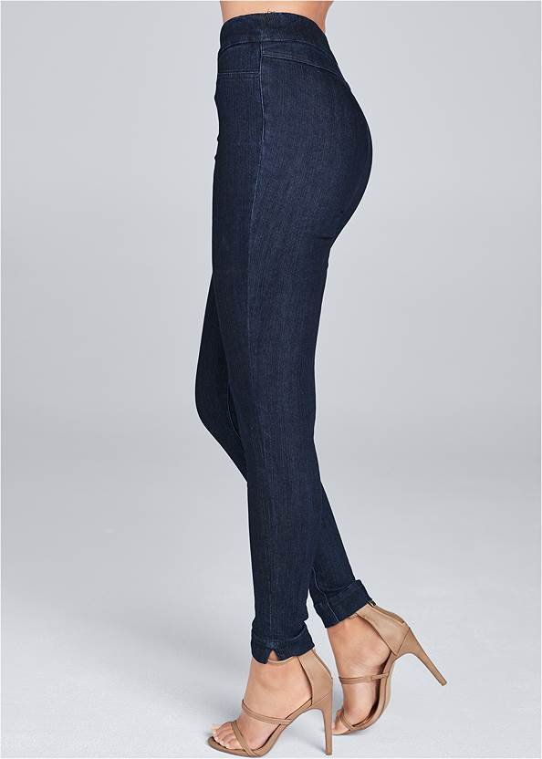 Back view Mid Rise Slimming Stretch Jeggings