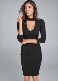 Cropped front view Mock Neck Midi Dress