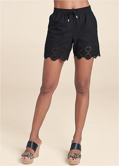 Crochet Trim Linen Shorts