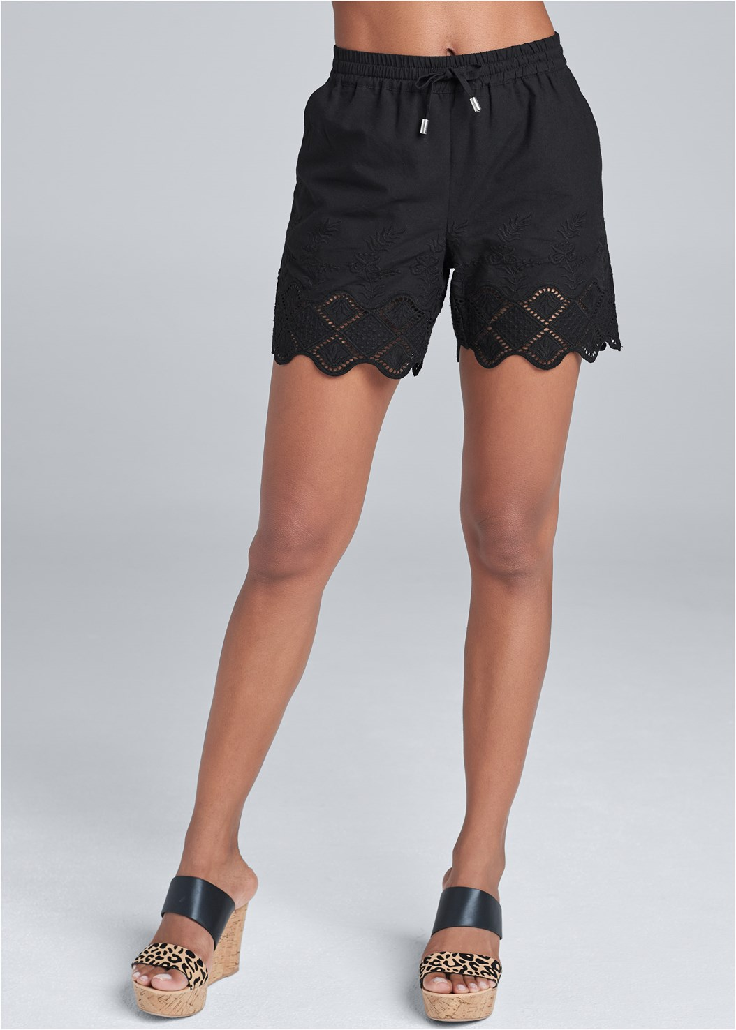 Crochet Trim Linen Shorts,Ruffle Cold Shoulder Top,Double Strap Cork Wedge
