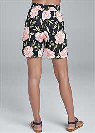 Back View Floral High Waisted Shorts
