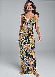 Front View Paisley Printed Maxi Dress