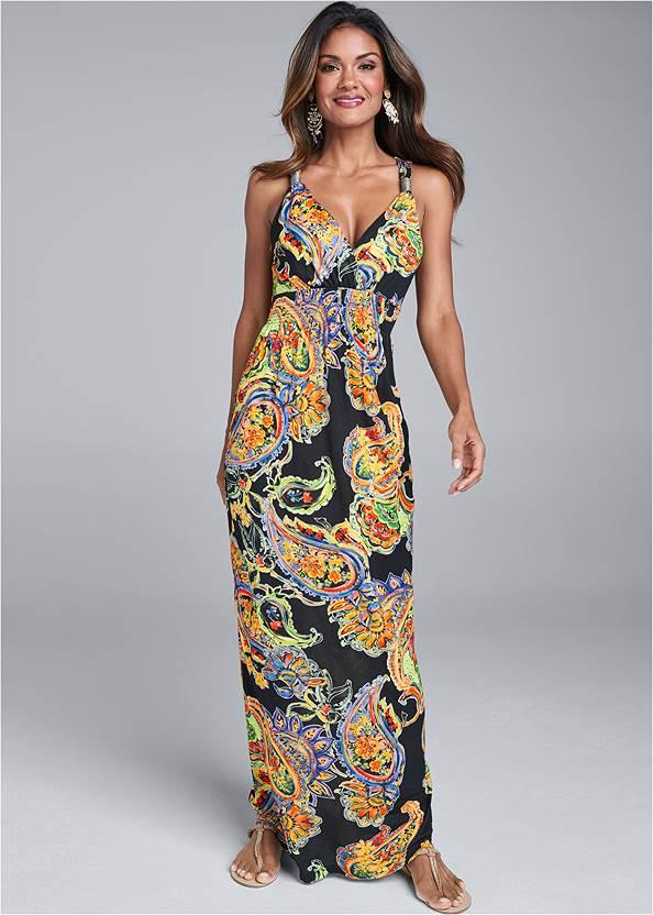 Paisley Printed Maxi Dress,Pearl™ By Venus Strappy Plunge Bra,Rhinestone Thong Sandals,Color Block Hoop Earrings