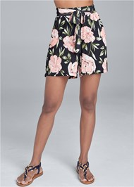Front View Floral High Waisted Shorts