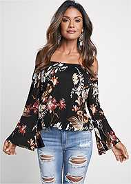 Cropped Front View Off Shoulder Floral Top